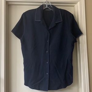 Liz Claiborne silk navy short sleeve blouse